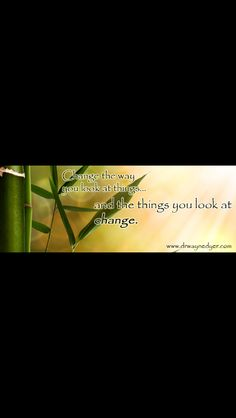 Change the way you look at things and the things u look at change