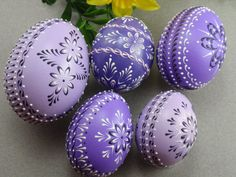 Set of 5 Easter Eggs in Purple, Decorated Chicken Eggs, Wax-Embossed Polish Pysanky, Kraslice