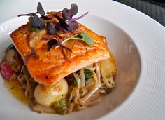 Pan Roasted Loch Duart Salmon will literally melt in your mouth! The soft noodles and flaky fish compliment each other to make a perfectly textured entree. Healthy, flavorful, and elegant. What more could you want?
