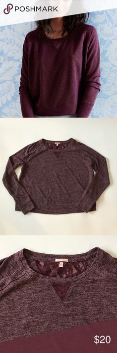 """Victoria's Secret lace inset sweater Victoria's Secret lace inset sweater in like new condition. Measures 20"""" in length, no holes or signs of wear. Make an offer or bundle and save! Victoria's Secret Sweaters Crew & Scoop Necks"""
