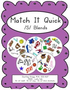 This game has 8 /s/ blend words per card. There are 57 different /s/ blend words (in all positions) and 55 cards in this game.  Have students race each other to SPOT and correctly SAY the one and only matching word that appears on any two cards. The student who correctly spots and says the matching word will get both cards.