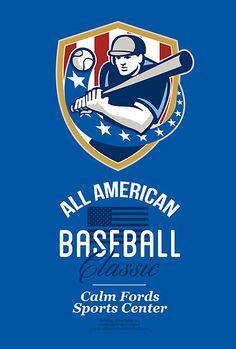 All American Baseball Classic Retro Poster by patrimonio