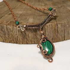 Malachite necklace, Wire wrapped jewelry handmade, Copper jewelry, Gemstone copper necklace, 7th Anniversary gift for her, Green necklace by BeyhanAkman on Etsy