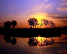 그림 같은 그라데이션의 환상적인 일몰, 전남 담양 영산강