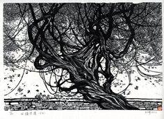 Wang Qi 王琦 : 古牆老藤; Guqiang laoteng (Old Vine over Ancient Wall), woodcut
