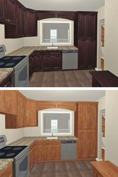 Which option to chose? We like the dark-stained cherry... (with @Chief Architect, Inc.) | Synergy D&C, Reston, VA