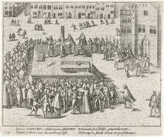 Executie van Bathasar Gerards, 1584, anoniem, Frans Hogenberg, 1613 - 1615