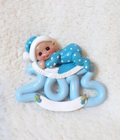 2013 baby's First Christmas ornament blue quilt First by clayqts, $23.75