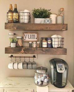 Wooden Shelves - - Display your style with this set of true floating shelves. The shelves come with brackets that are invisible when installed. They are made in the USA with high-grade pine. Each piece is its own creation with rustic character. Farmhouse Kitchen Decor, Kitchen Dining, Kitchen Shelf Decor, Farmhouse Design, Coffee Theme Kitchen, Coffee Station Kitchen, Country Farmhouse Decor, Kitchen Wall Shelves, Farmhouse Ideas