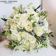 white and gray wedding flower bouquet, bridal bouquet, wedding flowers, add pic source on comment and we will update it. www.myfloweraffair.com can create this beautiful wedding flower look.