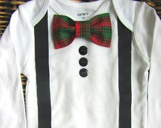 Baby Boy Clothes - Boys Christmas Outfit  - First Christmas Oufit - Bow Tie Bodysuit - Suspenders - Red Green Plaid Bow Tie
