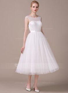A-Line/Princess Scoop Neck Tea-Length Satin Tulle Wedding Dress (002059204) - JJsHouse