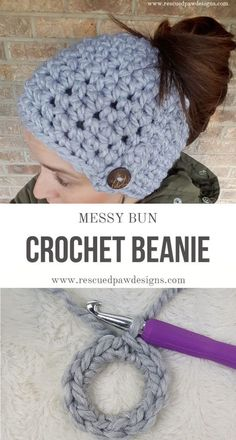 Free Messy Bun Beanie Crochet Pattern by Rescued Paw Designs. Try this FREE pattern today! via /rescuedpaw/