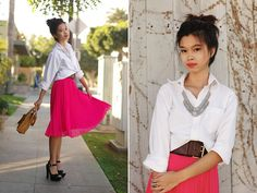 Pink Billowy Skirt, White Blouse, Statement Necklace, Big Belt, but different shoes..