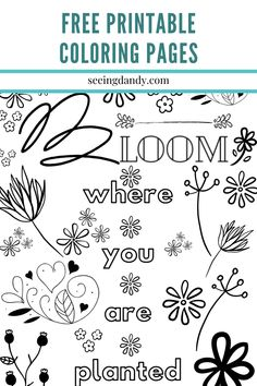 These DIY free printable coloring pages are floral and fun. Kids - of all ages - will enjoy coloring these beautiful designs! Free Kids Coloring Pages, Free Printable Coloring Pages, Free Coloring, Printable Art, Free Printables, Activities For Kids, Crafts For Kids, Easy Crafts, Rainy Day Crafts