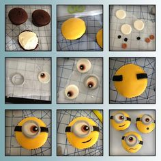DIY Minion Cupcakes cupcakes baking recipe recipes how to minions dessert recipe food tutorials food tutorial Minion Cupcakes, Fondant Cupcakes, Kid Cupcakes, Fondant Toppers, Baking Cupcakes, Cupcake Cakes, Fondant Minions, Minion Birthday, Minion Party