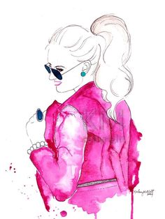 Pink Leather Jacket -  Fashion Illustration Watercolor Painting Print -- Fashion decor and wall art, Pink prints, Fashion Illustration by KelseyMDesigns on Etsy https://www.etsy.com/listing/211740533/pink-leather-jacket-fashion-illustration