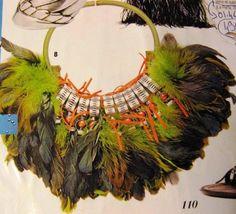 FIFI la FERRAILLE - collier pièce unique en plumes de coq, pvc, perles, tuyau d'arrosage .... saw it, did a call, and bought it !!! :-))