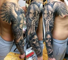 Black And Grey Angel With Skull Tattoo On Right Full Sleeve