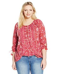 NEW Lucky Brand Women's Plus-Size Tie-Sleeve Henley Blouse