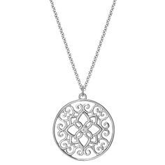 A bezel-set diamond sparkles from the center of a filigree flower and intricate scroll pattern in a captivating sterling silver pendant.
