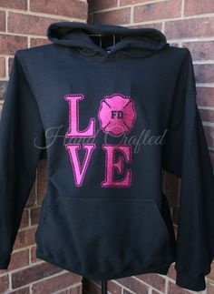 Fire Department LOVE Hoodie Customizable Glitter by HandCraftedHC, $37.00