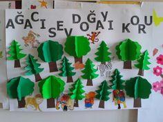orman haftasi Classroom Board, Classroom Crafts, Kindergarten Art, Preschool Art, Diy For Kids, Crafts For Kids, Monkey Crafts, Diy And Crafts, Paper Crafts