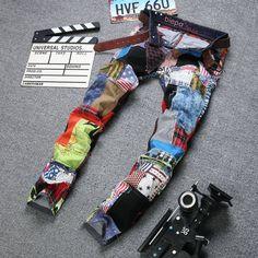 New Designer Famous Brand Patch Denim Jeans
