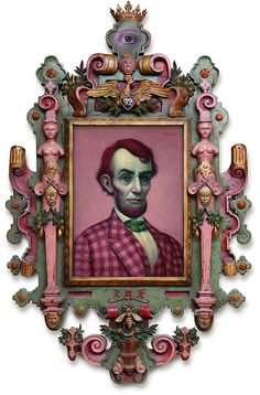 There is something mysteriously perverse about Lincoln in pink plaid. The tie sets it off. Mark Ryden