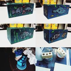 E-Cig holders made for my wife for Anniversary balsa wood block drilled and airbrushed, craft acrylic and markers coated with Polycrilic Urethane Painted Boxes, Hand Painted, Birdhouses, Wood Boxes, Markers, Anniversary, Crafts, Painting, Wood Crates