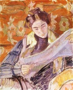 Renia Czytająca, 1908 Wojciech Weiss (Polonia,  1875 -1950) óleo sobre tela