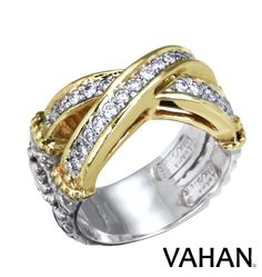 Stunning X ring made of 14k gold, sterling silver and diamonds. Style # 12309D #VAHAN #VahanStyle #Ring #Gold #Silver #Diamonds