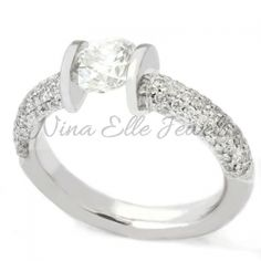 Contemporary tension set Wedding Rings for Women   Home » Round Cut Pave Tension Set Diamond Engagement Ring TR104