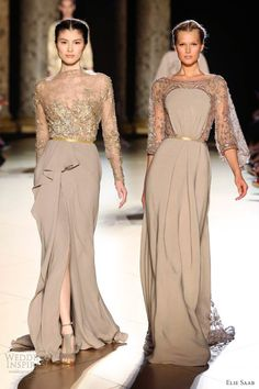elie saab couture fall 2012 dresses coffee gold sleeve dresses