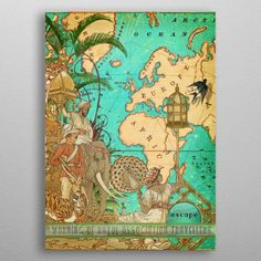 Escape Collage poster by from collection. By buying 1 Displate, you plant 1 tree. Collage Vintage, Vintage Posters, Print Artist, Cool Artwork, Vintage World Maps, Poster Prints, Metal, Amazing, Poster Vintage