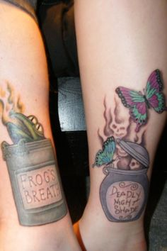The Nightmare Before Christmas Frog's Breath and Deadly Nightshade tattoo