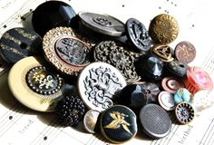 Antique Buttons Large Group of 25 Vintage Collection Victorian   C11. $40.00, via Etsy.