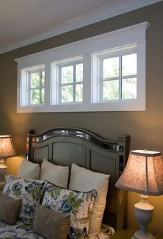 frame in windows above bed House Windows, High Windows, Transom Windows, Small Windows, Basement Windows, Windows In Bathroom, Bedroom With Windows, Basement Master Bedroom, Master Closet