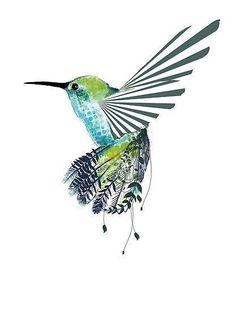 Blue & green Hummingbird art