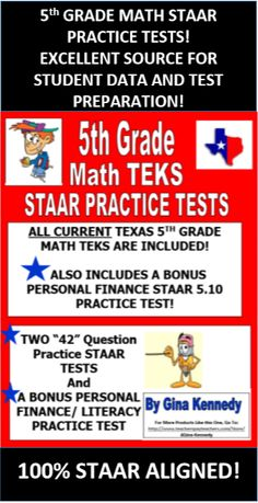 5th Grade Math TEKS Practice Tests REVISED 2017 | The o ...