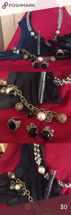"🕰💋Vintage Baubles ladies! Size 7 3/4 black faux stone ring in plated silver/3/4"" bow and faux black stone and rhinestone earrings/8"" bracelet adorned with faux pearls and crystals/34""faux pearl necklace.  AND Nudestyx  Mystic lippy! All clasps on jewelry work.  A lovely collection of vintage, retro, new items. Costume jewelry. 🐶🚭 Accessories"