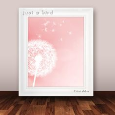 Dandelion art print, girls room decor, baby girl nursery decor, pink peach coral- INSTANT DOWNLOAD
