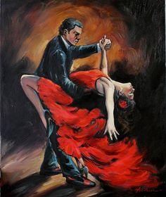 Spanish Flamenco Dancers Original Oil Painting on Canvas Wall Decor Art