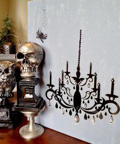halloween diy - spooky chandelier on canvas http://herlovelynest.blogspot.com/2013/08/halloween-diy-spooky-chandelier-on.html