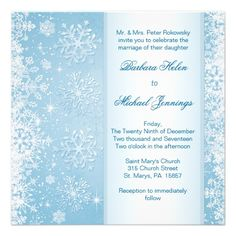 White snowflakes on blue Wedding Invitation