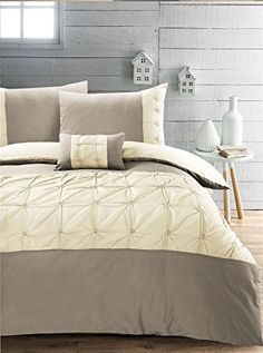 Jones Confection Soft Cotton Blend Stylish Embellished Embroiderd Ruched Pintuck Quilt Duvet Cover & Pillowcases Set - King - Taupe & Cream