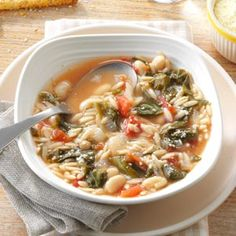 White Bean Soup with Escarole (substitute veggie broth for chicken and leave out Parmesan cheese)