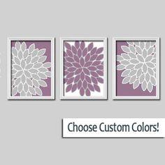 Wall Art Canvas Artwork Colorful Flowers Floral Purple Lavender Grey Gray White  Set of 3 Trio Prints Bedroom  Decor  Bedding Three