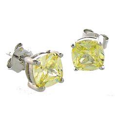 6x6mm Cushion Cut Citrine CZ Studs wholesale sterling and genuine gems paradisojewelry.com