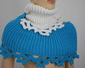 Emerald Turquoise Crochet Scarf with Agate Stone por levintovich